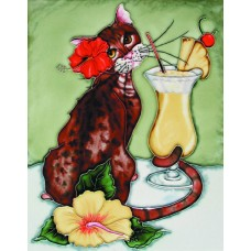"11""x14"" Cocktail Cat With Pinta Colada"