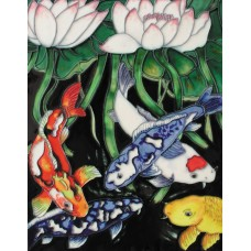 "11""x 14"" Koi in Lotus Pond"