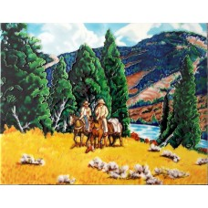 """11""""x14"""" Riding Horses with Mountain View"""