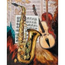 "11""x14"" Saxophone & Violin"
