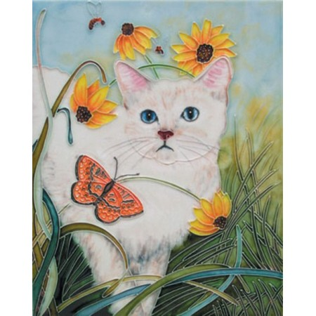 """11""""x 14"""" White Cat"""