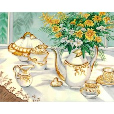 "11""x 14"" White Tea Pot Set"
