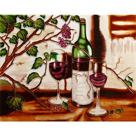 "11""x14"" 2 Glasses of Red Wines with Bottle"