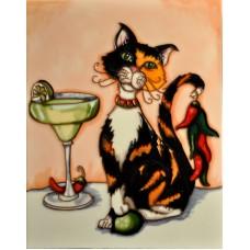 """11""""x14"""" Cocktail Cat with Calico Cat & Margarita"""