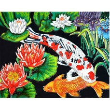 "11""x14"" White Koi & Lotus"
