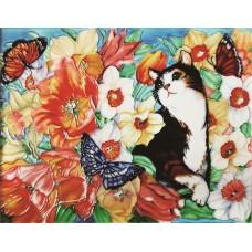 """11""""x14"""" Cat Playful Garden"""
