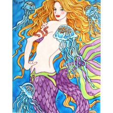 """11""""x14"""" Mermaid & Jelly Fishes"""