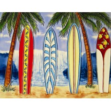 """11""""x14"""" 4 surfboards with ocean view"""