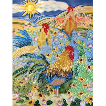 """11""""x14"""" Three Roosters"""