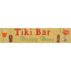 "3"" X 16"" Tiki Bar Happy Hour"