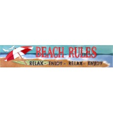 "3"" X 16"" Beach Rules - Relax Enjoy..."