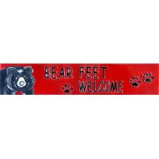 "3"" X 16"" Bear Feet Welcome"
