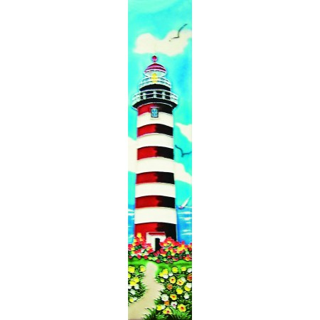 "3"" X 16""  white and red light house"