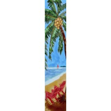 """3"""" X 16"""" Palm tree and red chairs"""