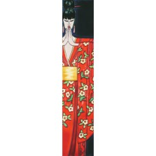"3"" X 16"" Japanese Lady in Red Kimono"