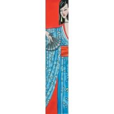 "3"" X 16""  Japanese in Blue Kimono"