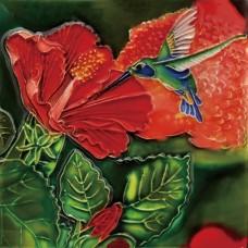 "6""x6"" Hibiscus Hummmingbird Dance"