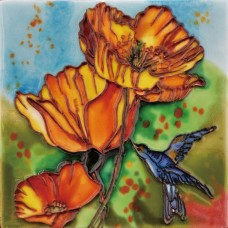 "6""x6"" Poppies Hummingbird Dance"