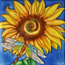 "6""x6"" Sunflower & Dargonfly"