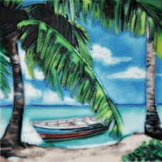 "6""x6"" Boat by Palm Tree"