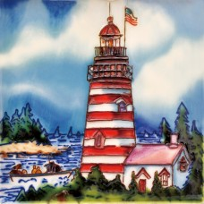"6""x6"" Lighthouse - USA Flag"