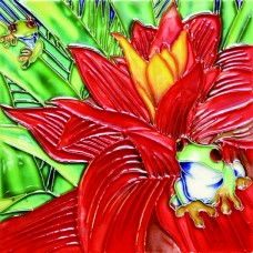 """6""""x6"""" Red Flower and Frog"""