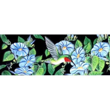 "6"" X 16"" Hummingbird and Morning Glories"