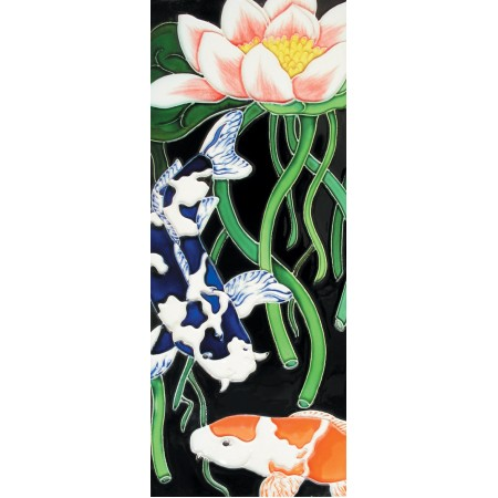 "6"" X 16"" Koi with lotus flower"