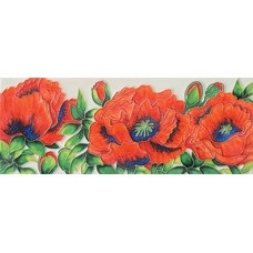 "6"" X 16"" Red Poppies"