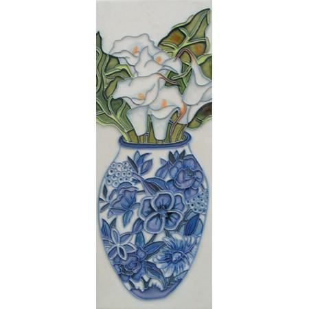 "6"" X 16"" White Flowers in Vase"