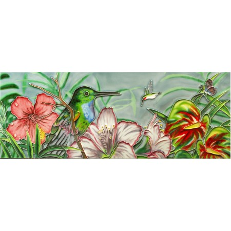 "6"" X 16"" Hydrangeas & Hummingbirds"