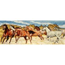 "6"" X 16"" Horse Racing"
