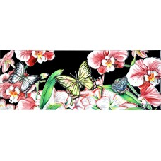 """6"""" X 16"""" Butterfly with Pink Orchids"""