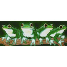 "6"" X 16"" Four frogs"
